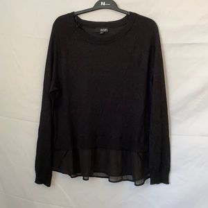 a.n.a Black Sweater Top With Sheer Ruffled Bottom